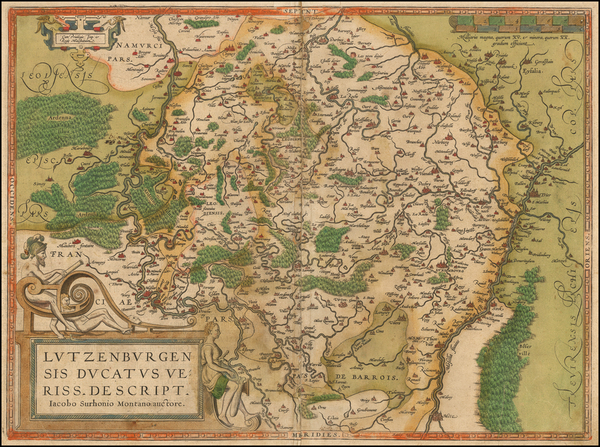 60-Luxembourg Map By Abraham Ortelius