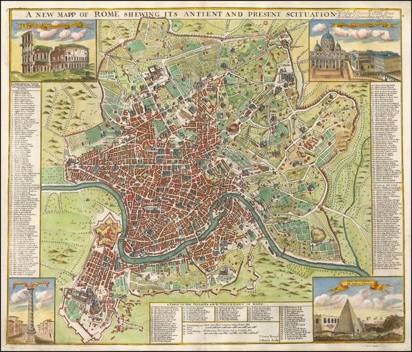 81-Rome Map By John Senex / John Harris