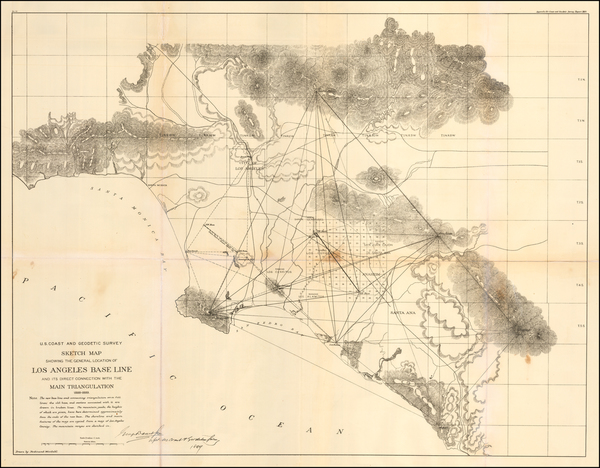 36-California and Los Angeles Map By U.S. Coast & Geodetic Survey