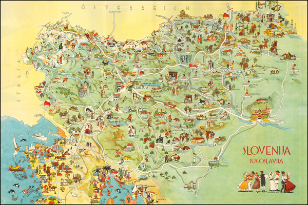 88-Balkans, Croatia & Slovenia and Pictorial Maps Map By Leon Koporc