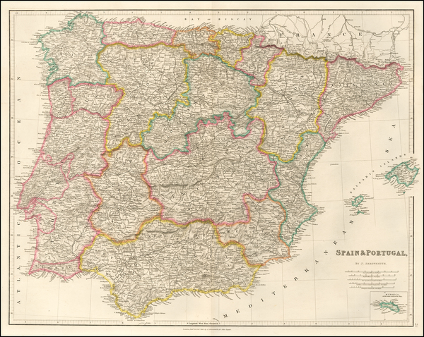 Spain and Portugal Map By John Arrowsmith