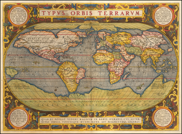 83-World Map By Abraham Ortelius