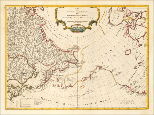 7-Pacific Northwest, Alaska, Canada, Pacific and Russia in Asia Map By Thomas Jefferys