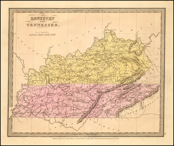 15-South, Kentucky and Tennessee Map By David Hugh Burr