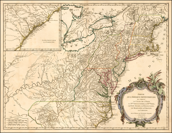 86-New England, New York State, Mid-Atlantic and Southeast Map By Didier Robert de Vaugondy
