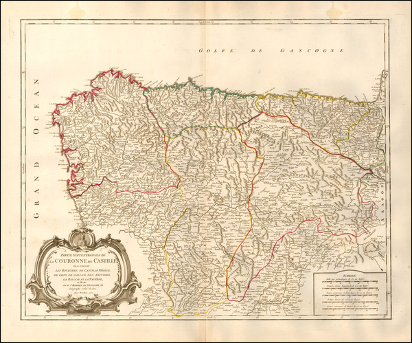 62-Spain Map By Gilles Robert de Vaugondy