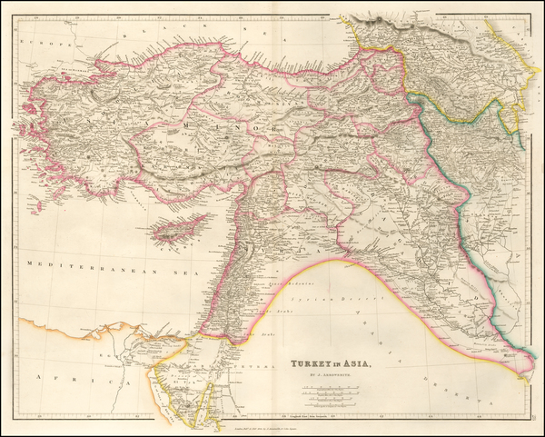 67-Cyprus, Central Asia & Caucasus and Turkey & Asia Minor Map By John Arrowsmith