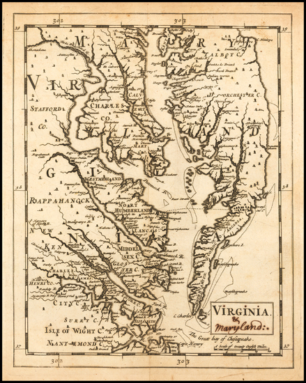 16-Maryland, Delaware, Southeast and Virginia Map By Sir Jonas Moore
