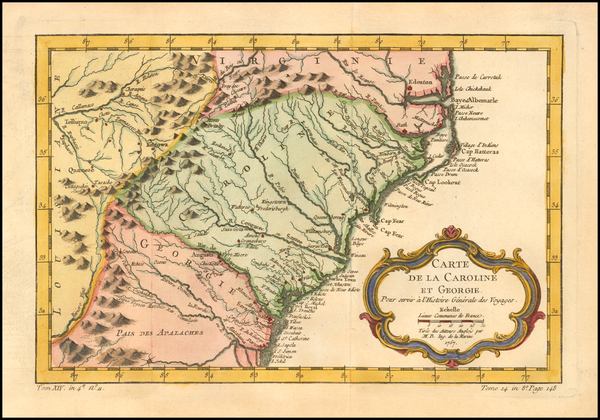 36-Southeast, Georgia, North Carolina and South Carolina Map By Jacques Nicolas Bellin