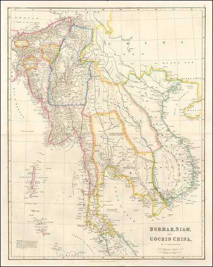 0-India and Thailand, Cambodia, Vietnam Map By John Arrowsmith