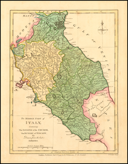 65-Northern Italy and Southern Italy Map By Robert Wilkinson