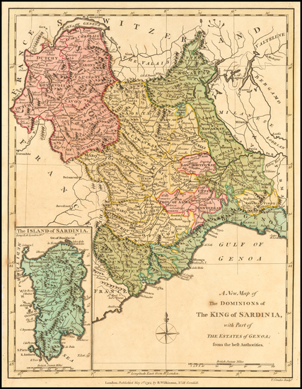 26-Northern Italy and Sardinia Map By Robert Wilkinson
