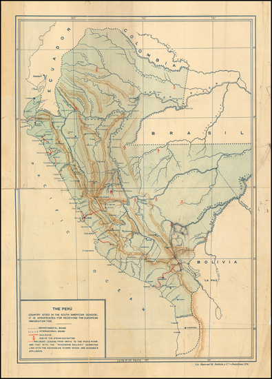 3-Peru & Ecuador Map By Lit. Nacional M. Badiola y Co.