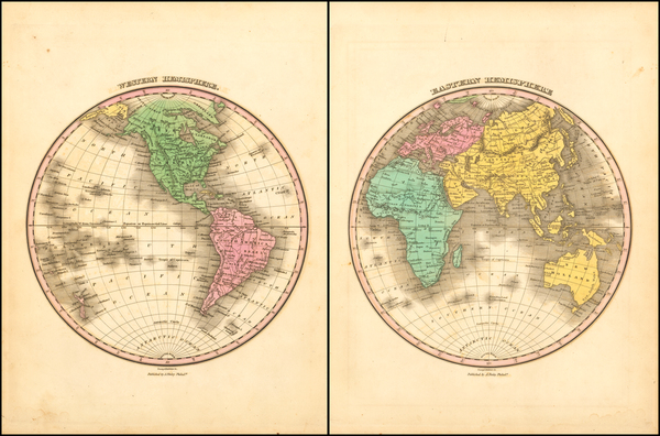 44-World, Eastern Hemisphere and Western Hemisphere Map By Anthony Finley