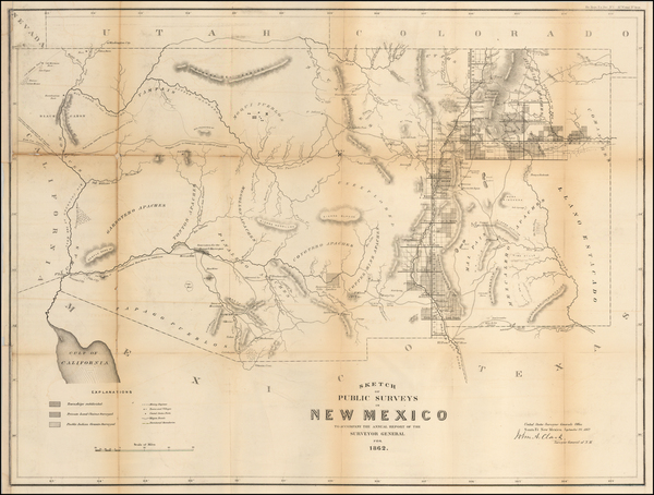 55-Southwest, Arizona and New Mexico Map By U.S. General Land Office