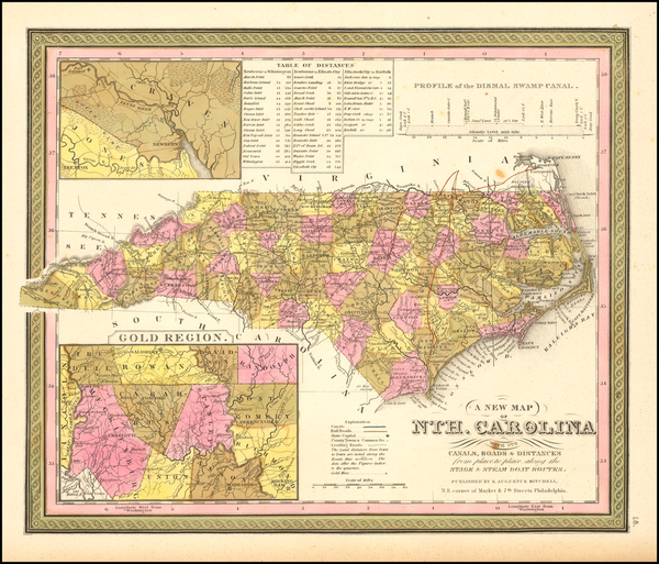 1-North Carolina Map By Samuel Augustus Mitchell