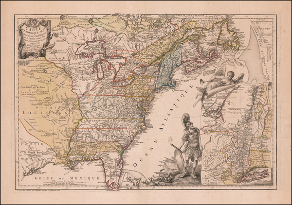 78-United States, New England, Mid-Atlantic, Southeast, Midwest and North America Map By Jean de B