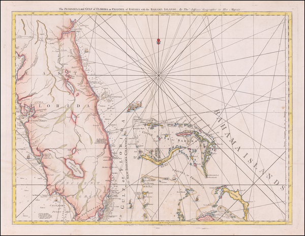 14-Florida and Bahamas Map By Thomas Jefferys