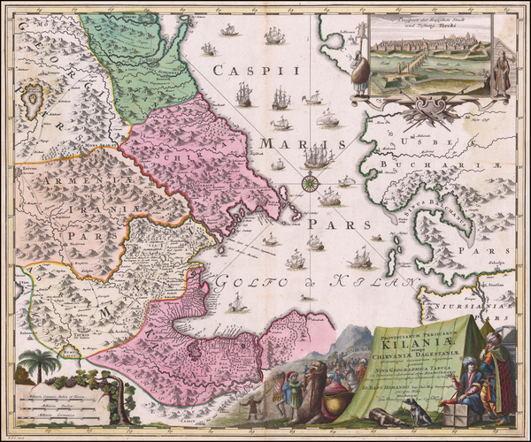 2-Russia, Persia and Russia in Asia Map By Johann Baptist Homann