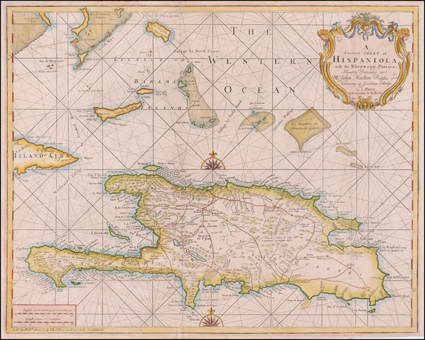 90-Hispaniola and Bahamas Map By Charles Price