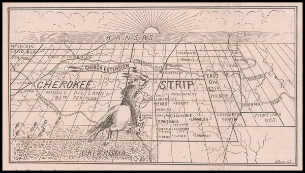 Oklahoma & Indian Territory and Pictorial Maps Map By Albers