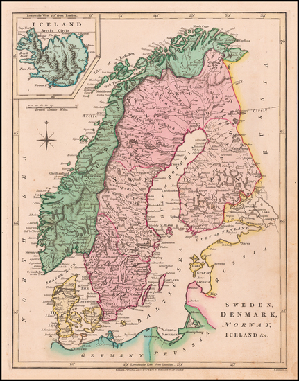 66-Scandinavia, Iceland, Sweden and Norway Map By Robert Wilkinson