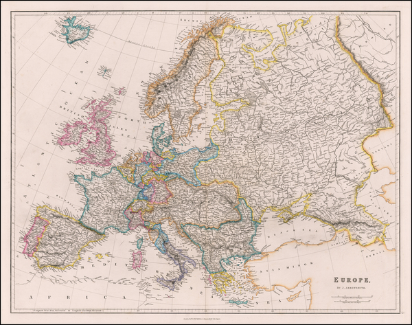 Europe Map By John Arrowsmith