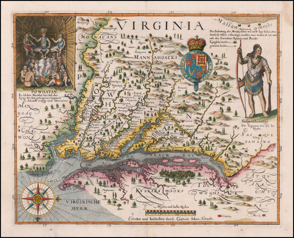67-Maryland, Delaware, Southeast and Virginia Map By John Smith