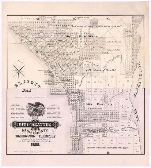 21-Washington Map By Sylvanus C. Harris