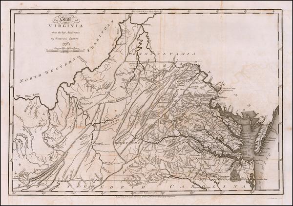 51-Virginia Map By Mathew Carey