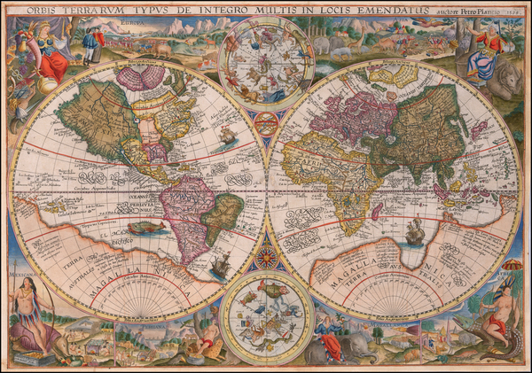 82-World and Celestial Maps Map By Petrus Plancius