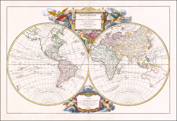 45-World Map By Gilles Robert de Vaugondy