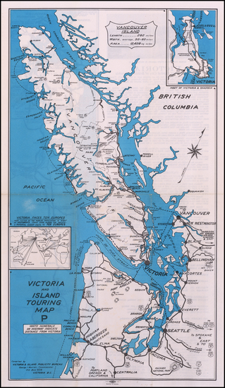 97-Washington and British Columbia Map By Victoria & Island Publicity Bureau