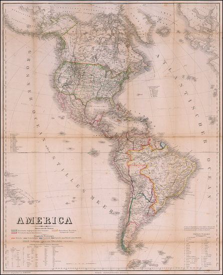 89-America Map By Weimar Geographische Institut / Heinrich Kiepert