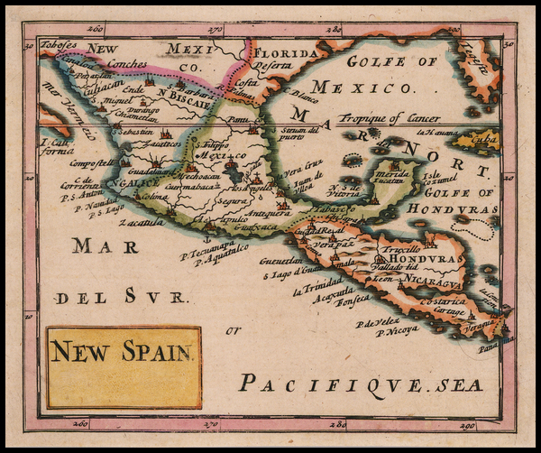 17-Florida, Texas and Mexico Map By Sir Jonas Moore
