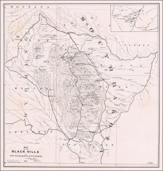 15-Plains, South Dakota, Rocky Mountains and Wyoming Map By Samuel Scott