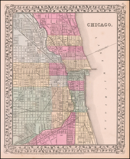 93-Illinois and Chicago Map By Samuel Augustus Mitchell Jr.