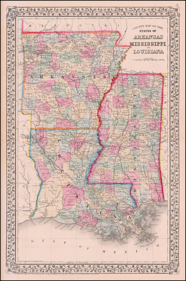 Louisiana, Mississippi and Arkansas Map By Samuel Augustus Mitchell Jr.