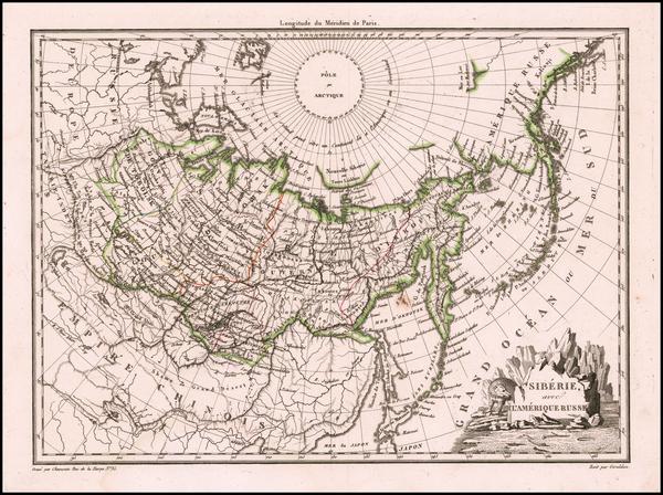 38-Alaska and Russia in Asia Map By Conrad Malte-Brun