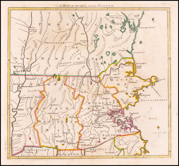 46-New England and Massachusetts Map By Gentleman's Magazine