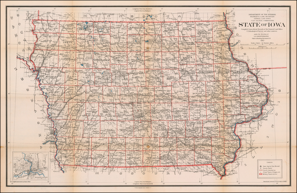 Iowa Map By U.S. General Land Office