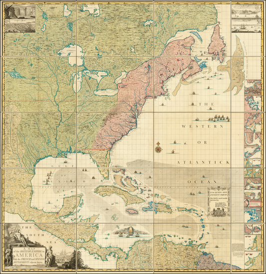 46-United States, North America and Atlases Map By Henry Popple