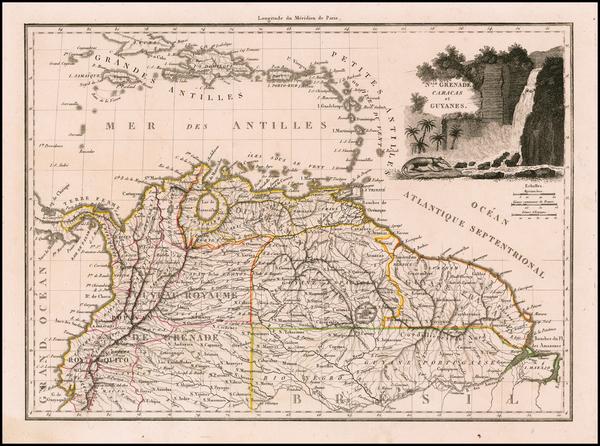 65-Colombia, Guianas & Suriname and Venezuela Map By Conrad Malte-Brun