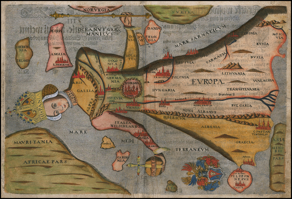 99-Europe and Comic & Anthropomorphic Map By Heinrich Bunting
