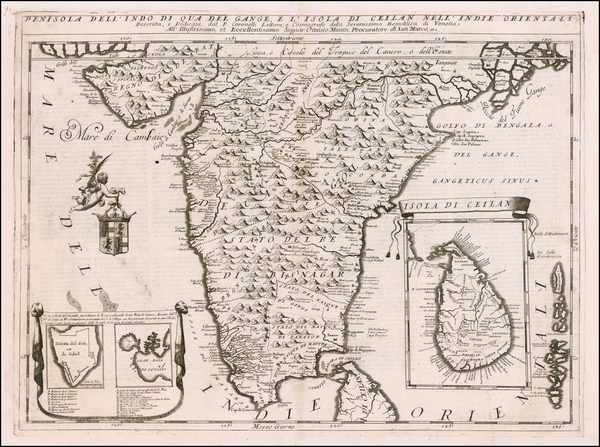 27-India and Sri Lanka Map By Vincenzo Maria Coronelli