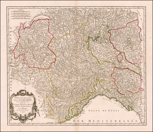 58-Switzerland, France and Northern Italy Map By Gilles Robert de Vaugondy