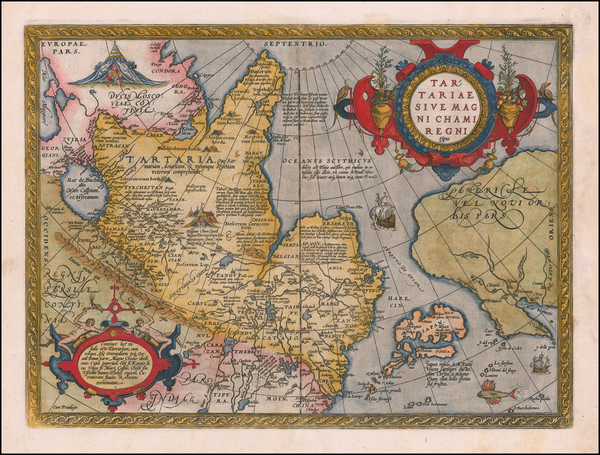 47-Pacific Northwest, Alaska, China, Japan, Russia in Asia and California Map By Abraham Ortelius