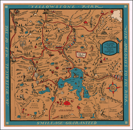 33-Idaho and Wyoming Map By Lindgren Brothers