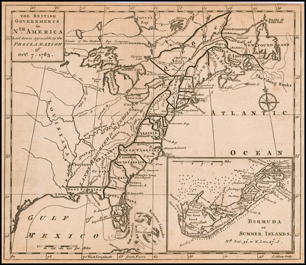 47-United States, Caribbean and Bermuda Map By Gentleman's Magazine