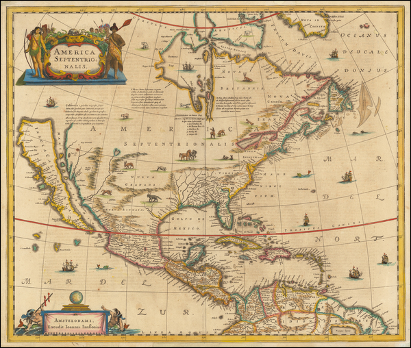 59-North America and California as an Island Map By Henricus Hondius / Jan Jansson